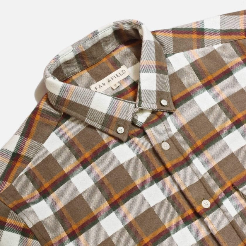 Far Afield Larry Long Sleeve Shirt a Moscow Check BCI Cotton Fabric/Cotton Flannel Work Lumberjack Check Casual 5