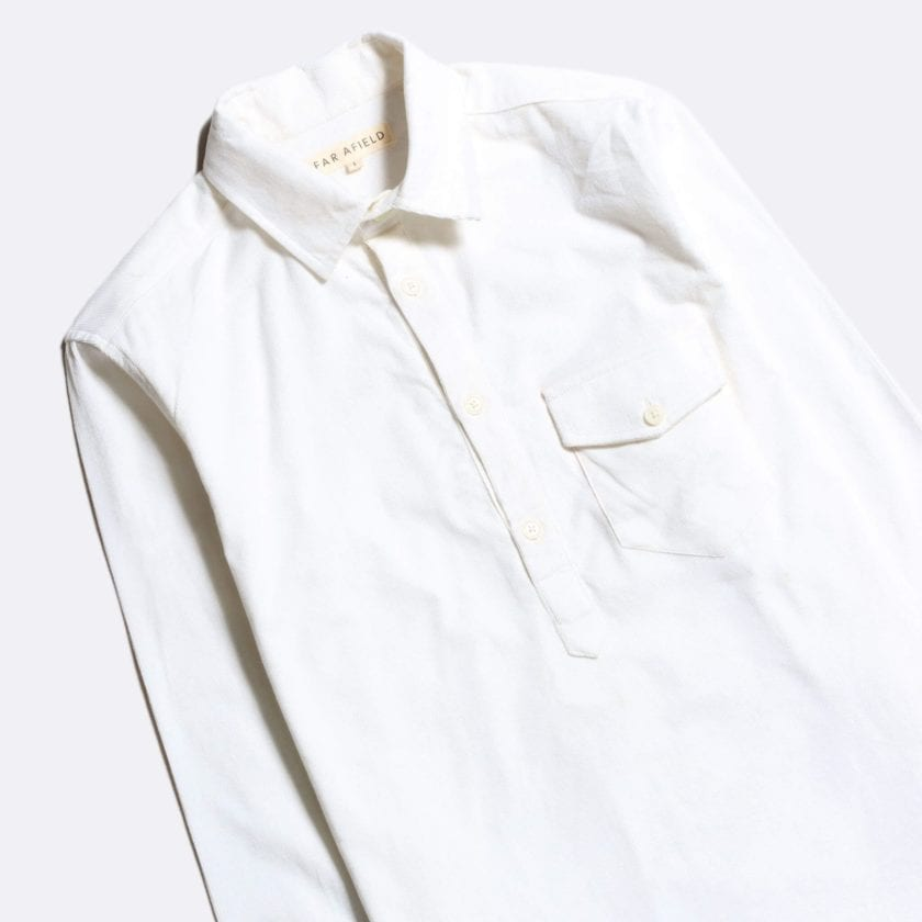 Far Afield Flap Pocket Pop Over Long Sleeve Shirt a Ecru Organic Cotton Corduroy Fabric Classic Menswear Smart Casual 2