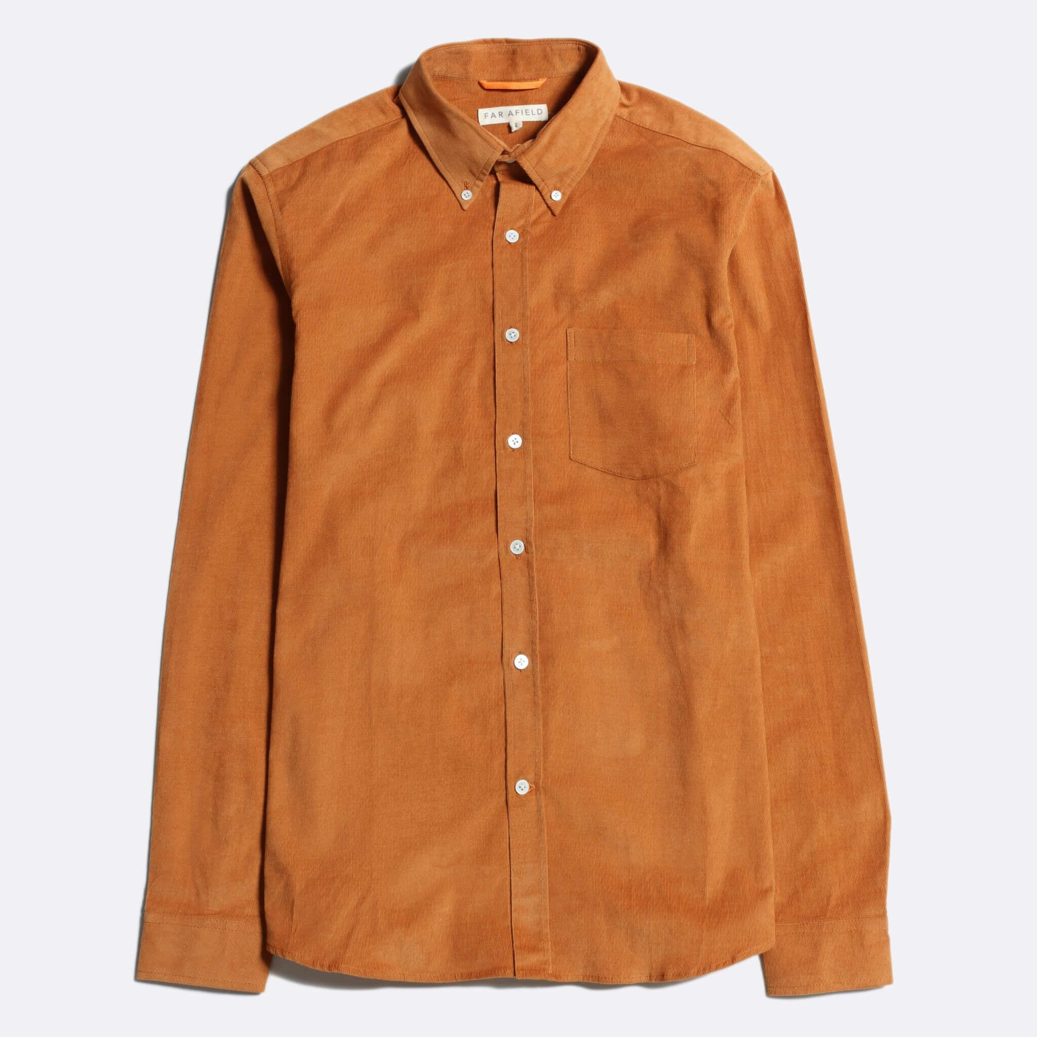 Far Afield Field Long Sleeve Shirt a Orange Organic Cotton Corduroy Fabric Classic Button Down Casual