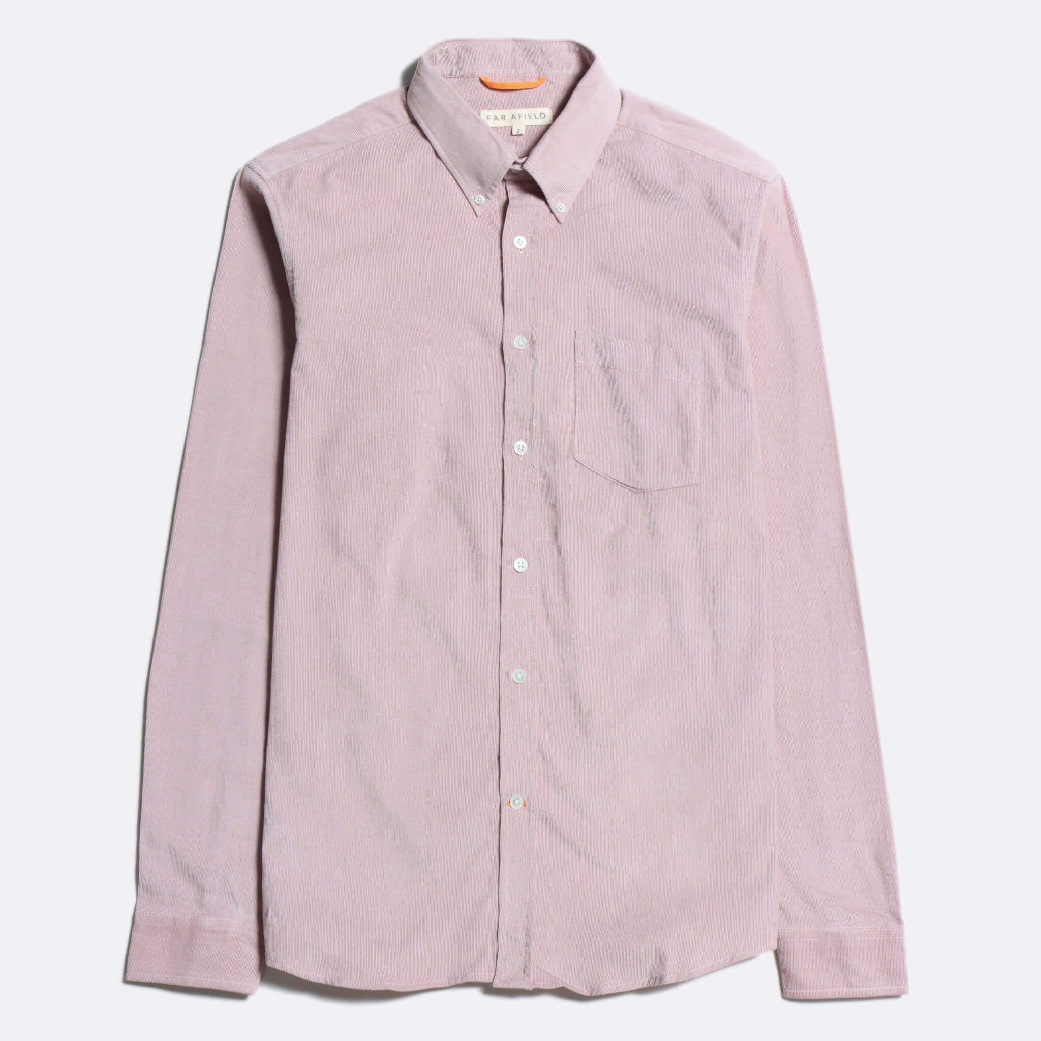 Far Afield Flap Pocket Pop Over Long Sleeve Shirt a Ecru Organic Cotton Corduroy Fabric Classic Menswear Smart Casual 8
