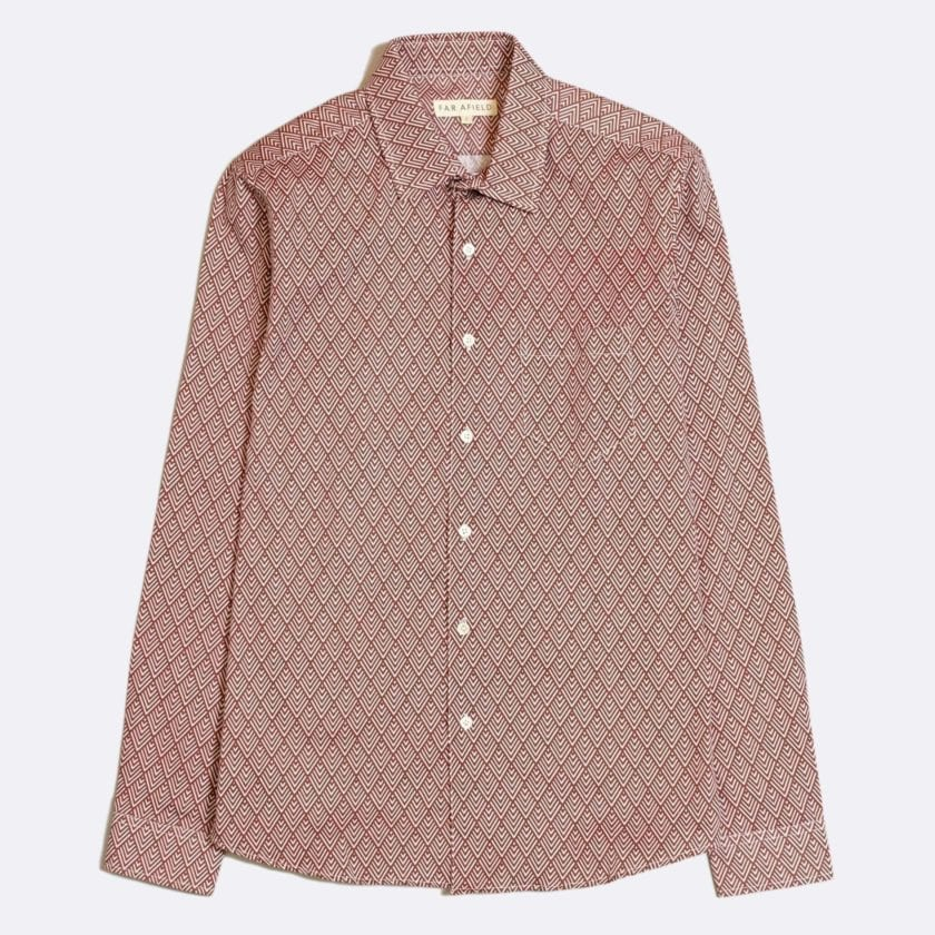 Far Afield Classic Long Sleeve Shirt a Maroon Organic Cotton Repeat Pattern Print Fabric Smart Casual