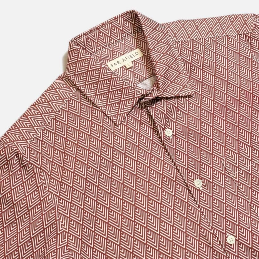 Far Afield Classic Long Sleeve Shirt a Maroon Organic Cotton Repeat Pattern Print Fabric Smart Casual 2