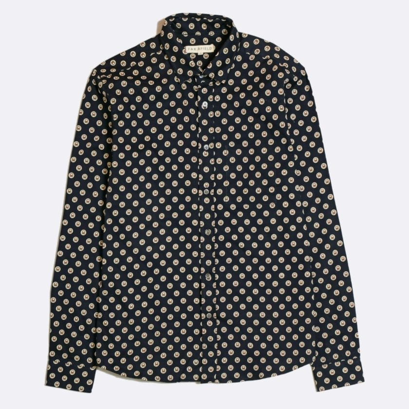 Far Afield Cognito Long Sleeve Shirt a Dark Navy Organic Cotton Train Repeat Pattern Print Fabric Smart Casual