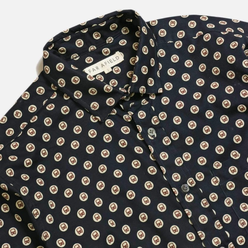 Far Afield Cognito Long Sleeve Shirt a Dark Navy Organic Cotton Train Repeat Pattern Print Fabric Smart Casual 5