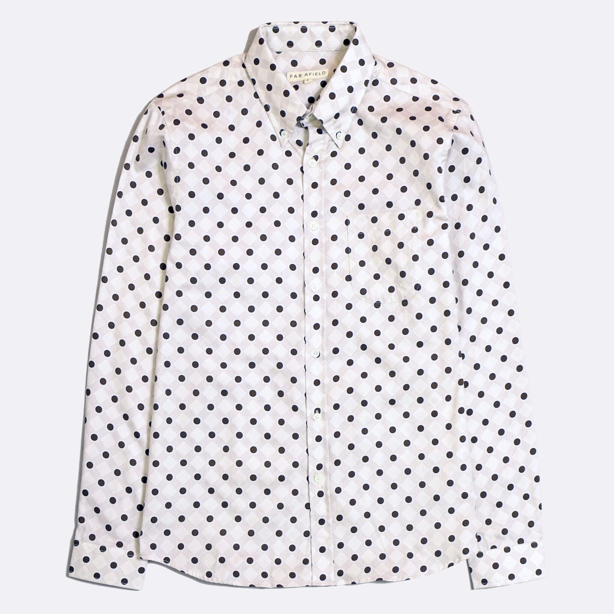 Far Afield Mod Button Down Long Sleeve Shirt a White Organic Cotton Classic Fabric Tailored Smart Casual