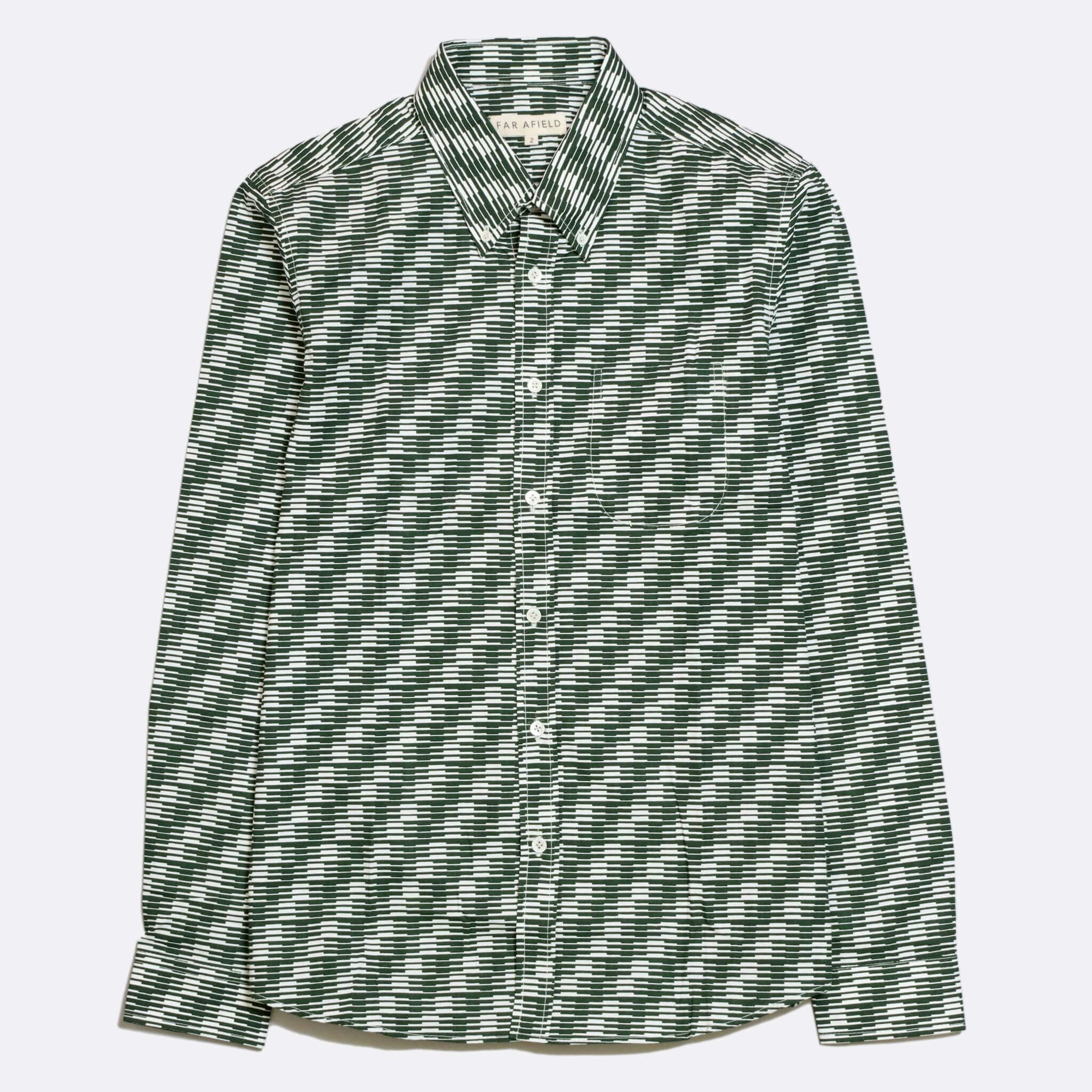 Far Afield Mod Button Down Long Sleeve Shirt a Green Organic Cotton Classic Fabric Tailored Smart Casual