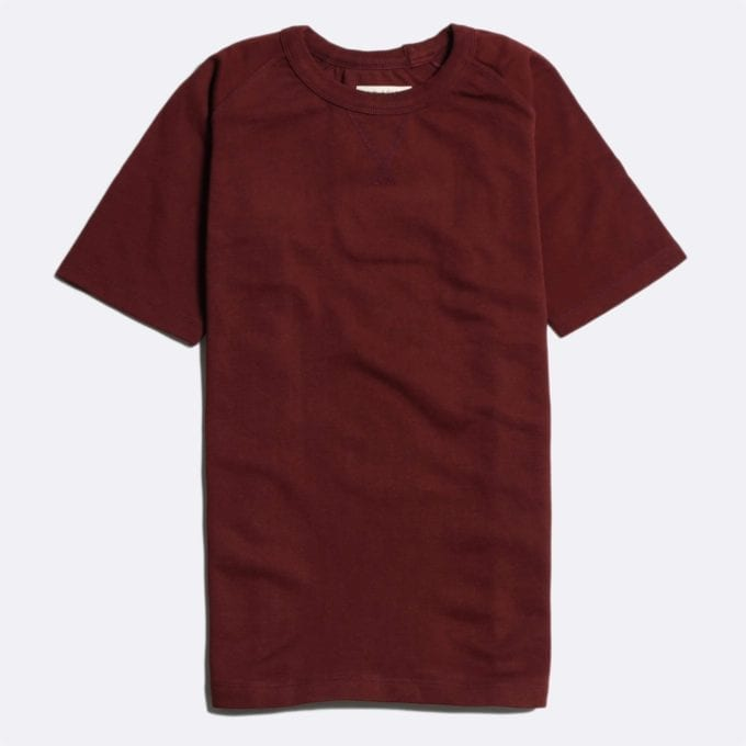 Far Afield Raglan Heavy T-Shirt a Maroon BCI Cotton Fabric Short Sleeve Boxy Fit