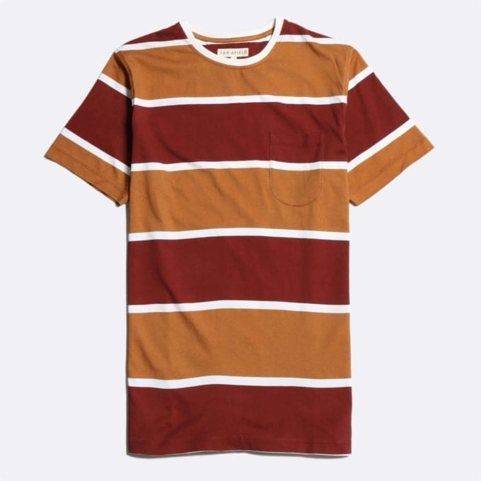 Far Afield Dos Stripe T-Shirt a Maroon/Orange Organic Cotton Fabric Short Sleeve Casual
