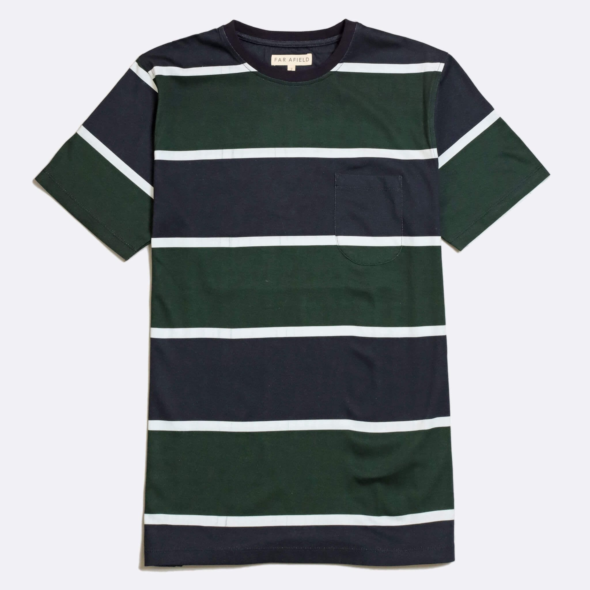 Far Afield Dos Stripe T-Shirt a Navy/Green Organic Cotton Fabric Short Sleeve Casual