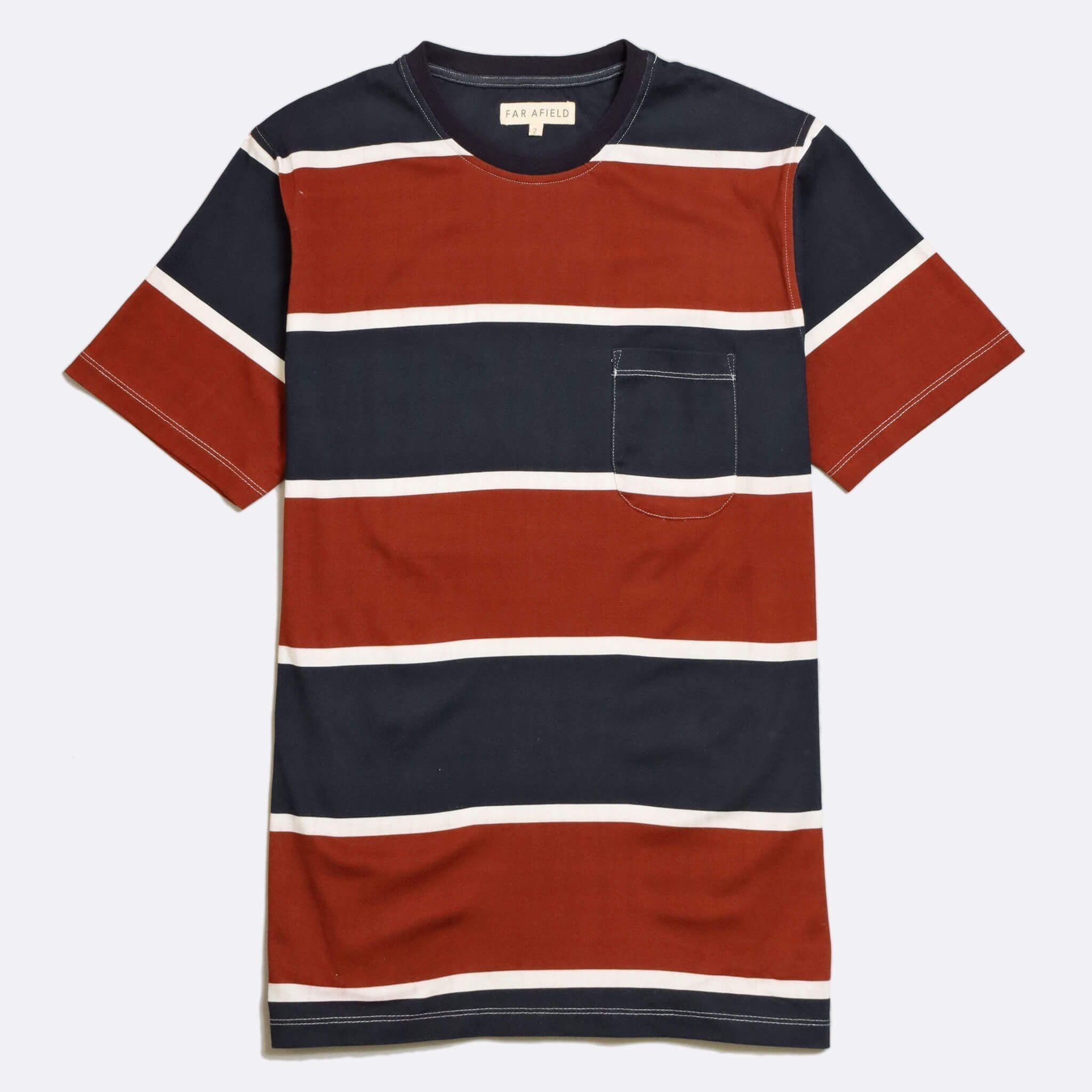 Far Afield Dos Stripe T-Shirt a Navy/Maroon Organic Cotton Fabric Short Sleeve Casual