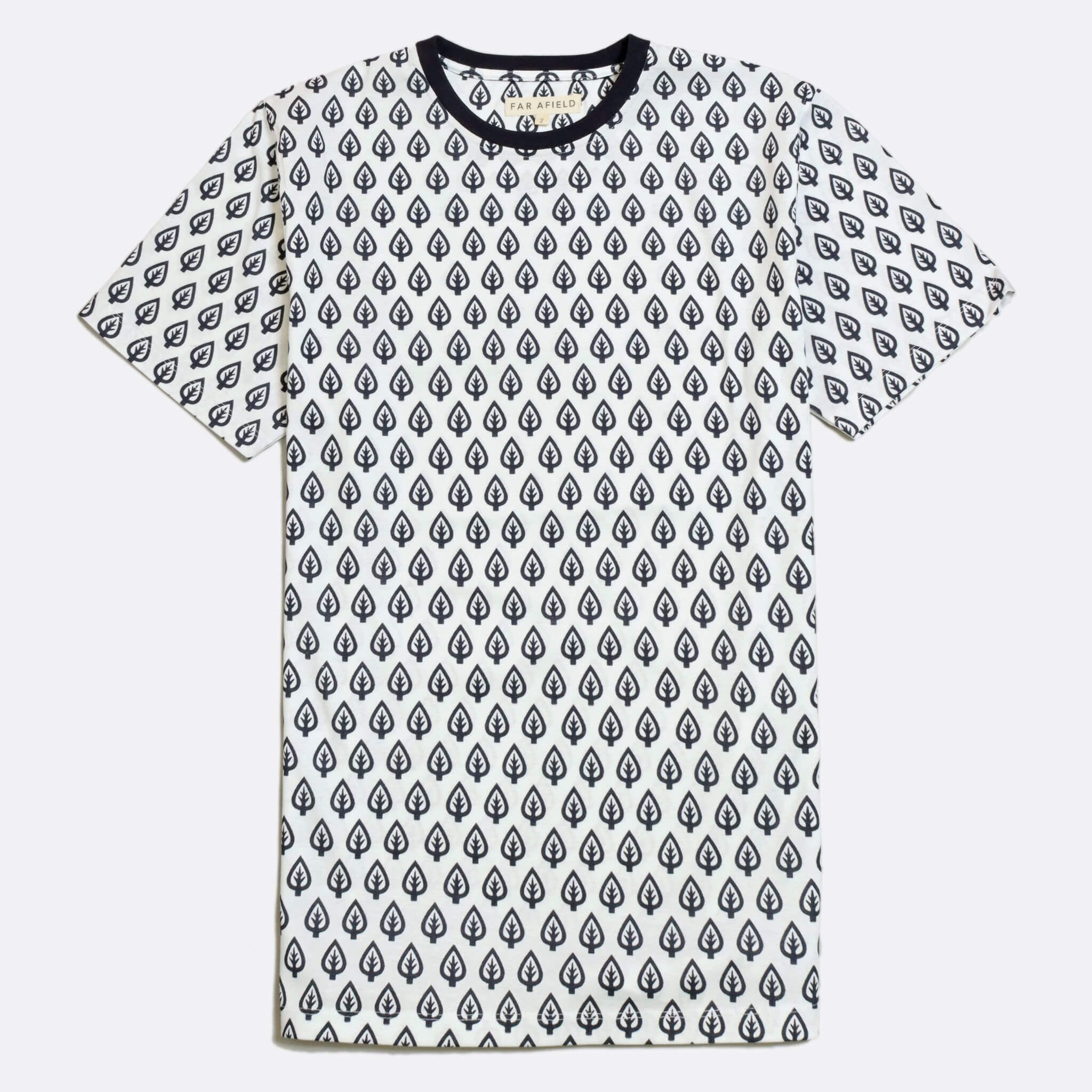 Far Afield Treeism Print T-Shirt a White Organic Cotton with Leaf Print Fabric Casual