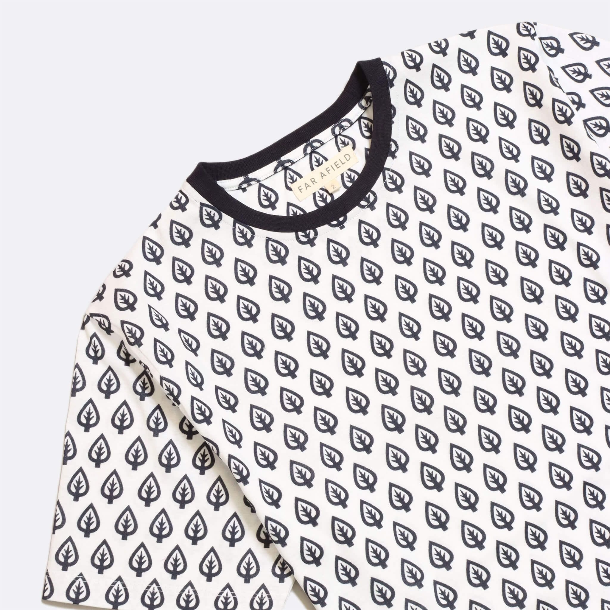 Far Afield Treeism Print T-Shirt a White Organic Cotton with Leaf Print Fabric Casual 2
