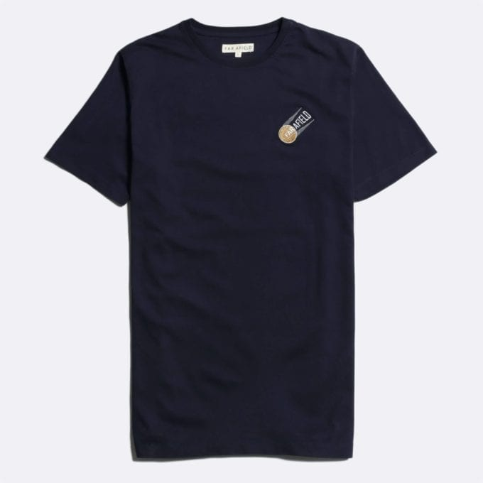 Far Afield Constructivism T-Shirt a Dark Navy Organic Cotton Fabric Short Sleeve Casual