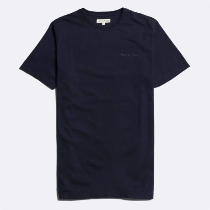 Far Afield Embroidered Logo T-Shirt a Dark Navy BCI Cotton Fabric Short Sleeve Casual