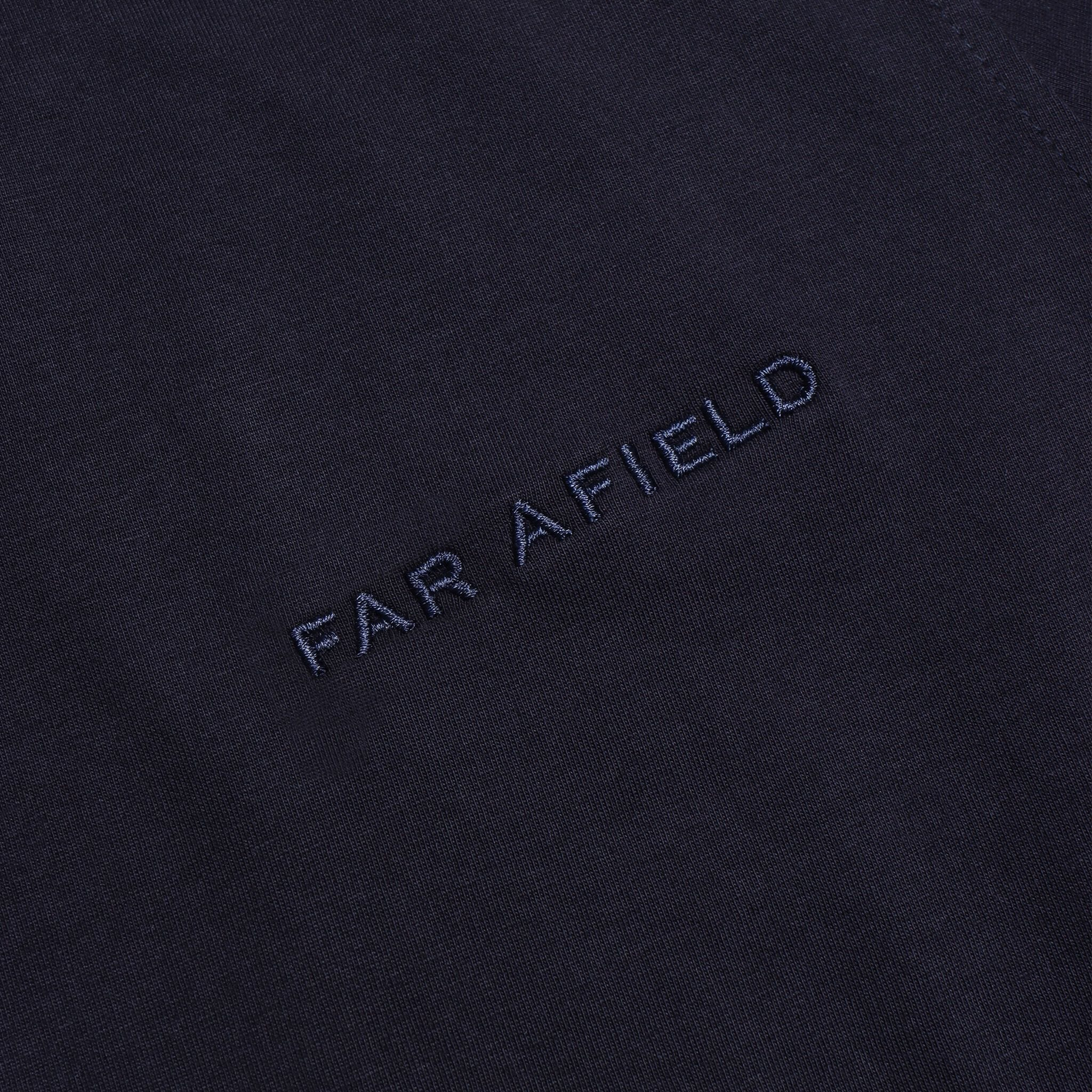 Far Afield Embroidered Logo T-Shirt a Dark Navy BCI Cotton Fabric Short Sleeve Casual 2