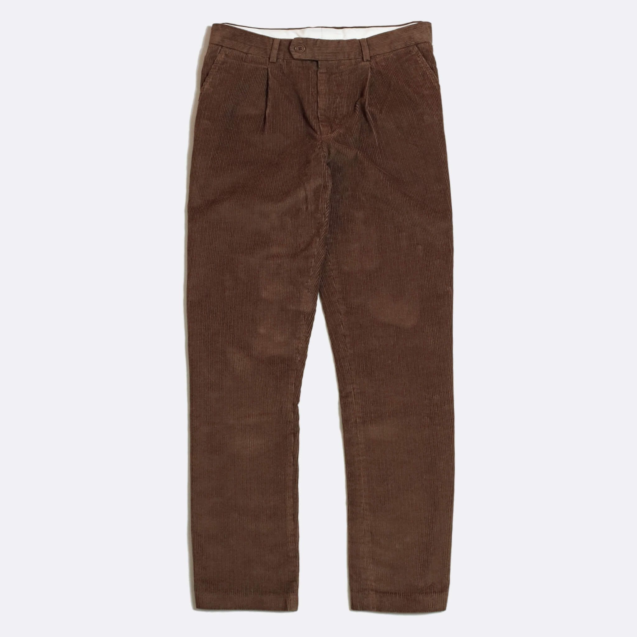 Far Afield Pleat Trousers a Dark Brown Organic Cotton Corduroy Fabric Classic Tailored Casual