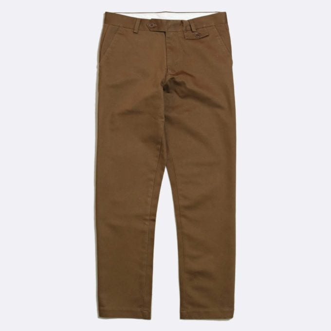 Far Afield Tricker Trousers a Dark Brown Organic Cotton Twill Fabric Classic Tailored Casual