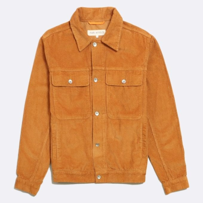 Far Afield Watts Jacket a Orange Organic Cotton Corduroy Fabric Trucker Casual Work