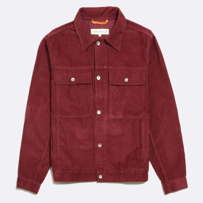 Far Afield Watts Jacket a Maroon Organic Cotton Corduroy Fabric Trucker Casual Work
