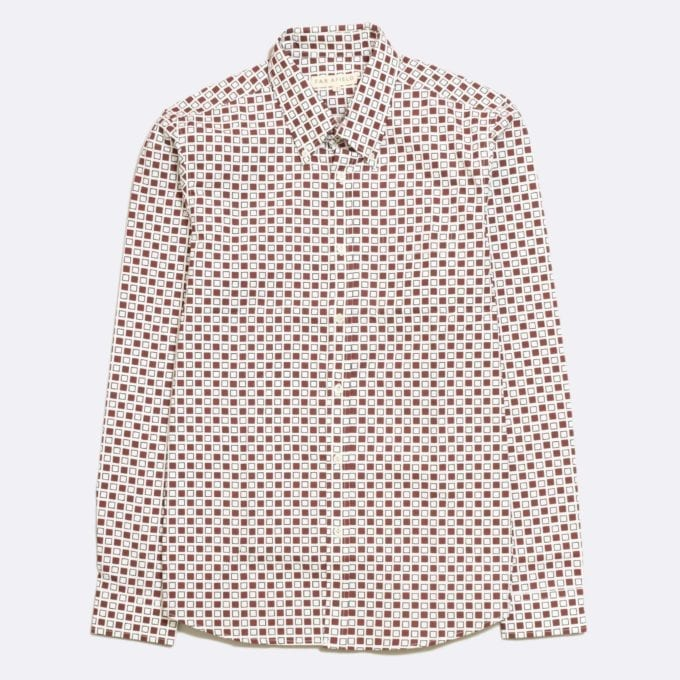Far Afield Mod Button Down Long Sleeve Shirt a Ecru Classic Fabric Tailored Smart Casual