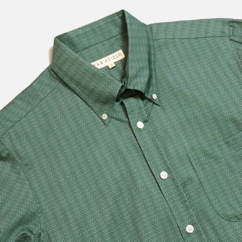Far Afield Mod Button Down Long Sleeve Shirt a Green Organic Cotton Classic Fabric Tailored Smart Casual 2