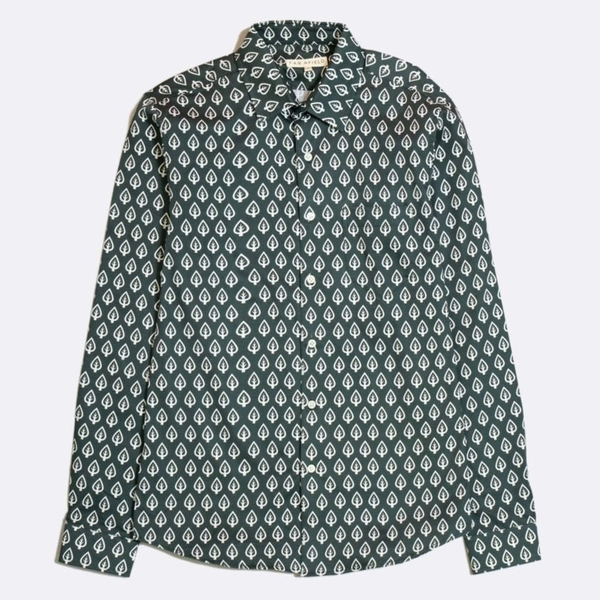 Far Afield Classic Long Sleeve Shirt a Dark Green Organic Cotton Repeat Pattern Print Fabric Smart Casual