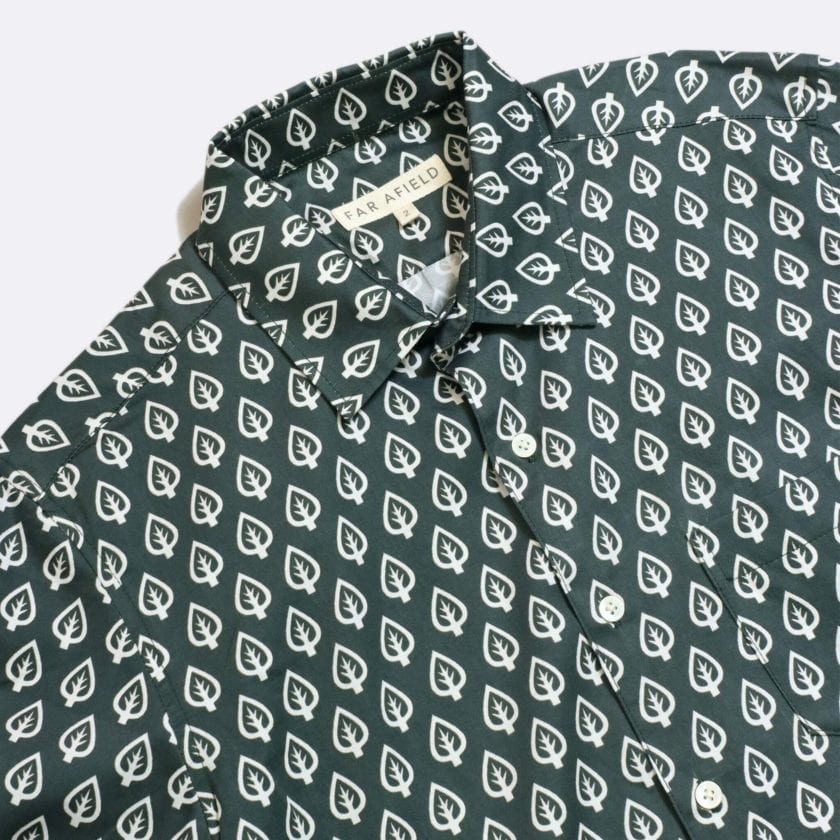 Far Afield Classic Long Sleeve Shirt a Dark Green Organic Cotton Repeat Pattern Print Fabric Smart Casual 2