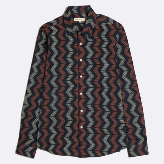 Far Afield Classic Long Sleeve Shirt a Navy Organic Cotton Repeat Pattern Print Fabric Smart Casual