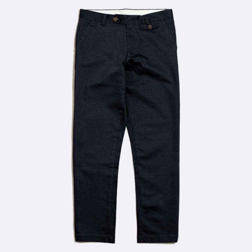 Far Afield Tricker Trousers a Navy Organic Cotton Twill Fabric Classic Tailored Casual