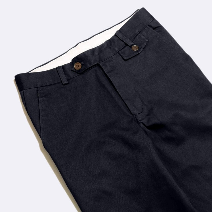 Far Afield Tricker Trousers a Navy Organic Cotton Twill Fabric Classic Tailored Casual 2
