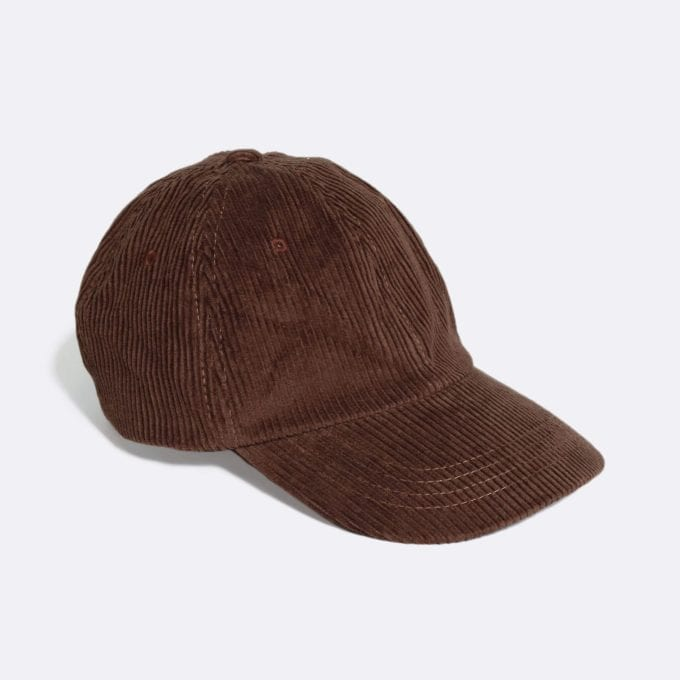 Far Afield Carlos Cap a Dark Brown Organic Cotton Corduroy Fabric Baseball Hat 5 Panel