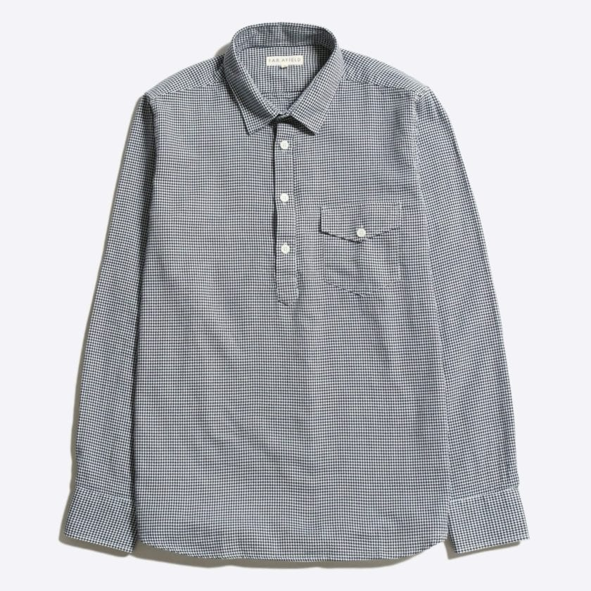 Far Afield Flap Pocket Pop Over Long Sleeve Shirt a Monochrome Cotton Up-Cycled Fabric Classic Menswear Smart Casual