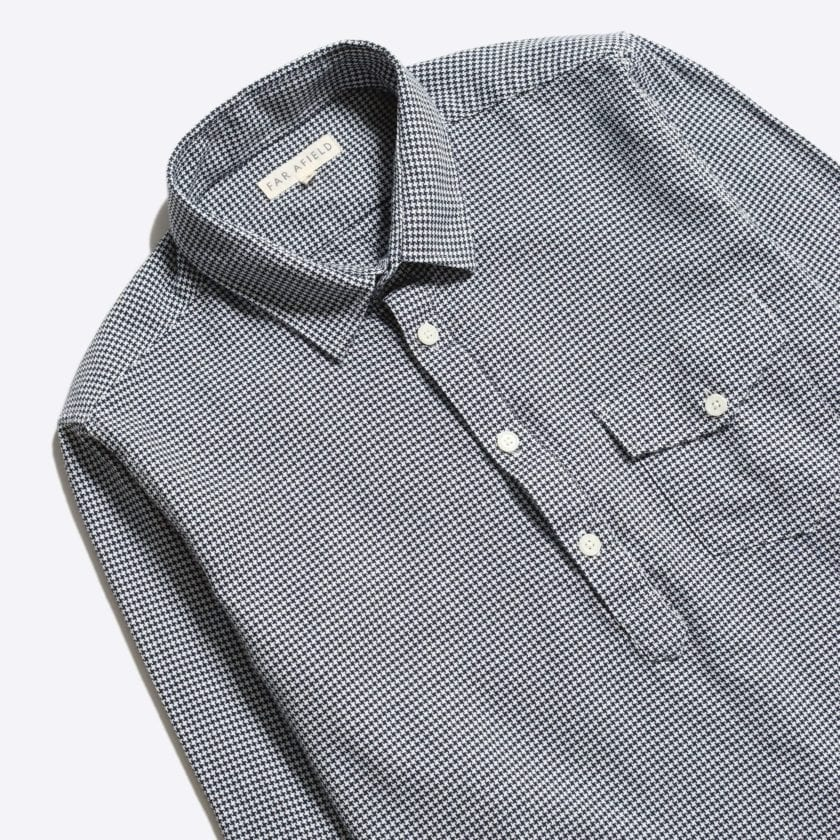 Far Afield Flap Pocket Pop Over Long Sleeve Shirt a Monochrome Cotton Up-Cycled Fabric Classic Menswear Smart Casual 5