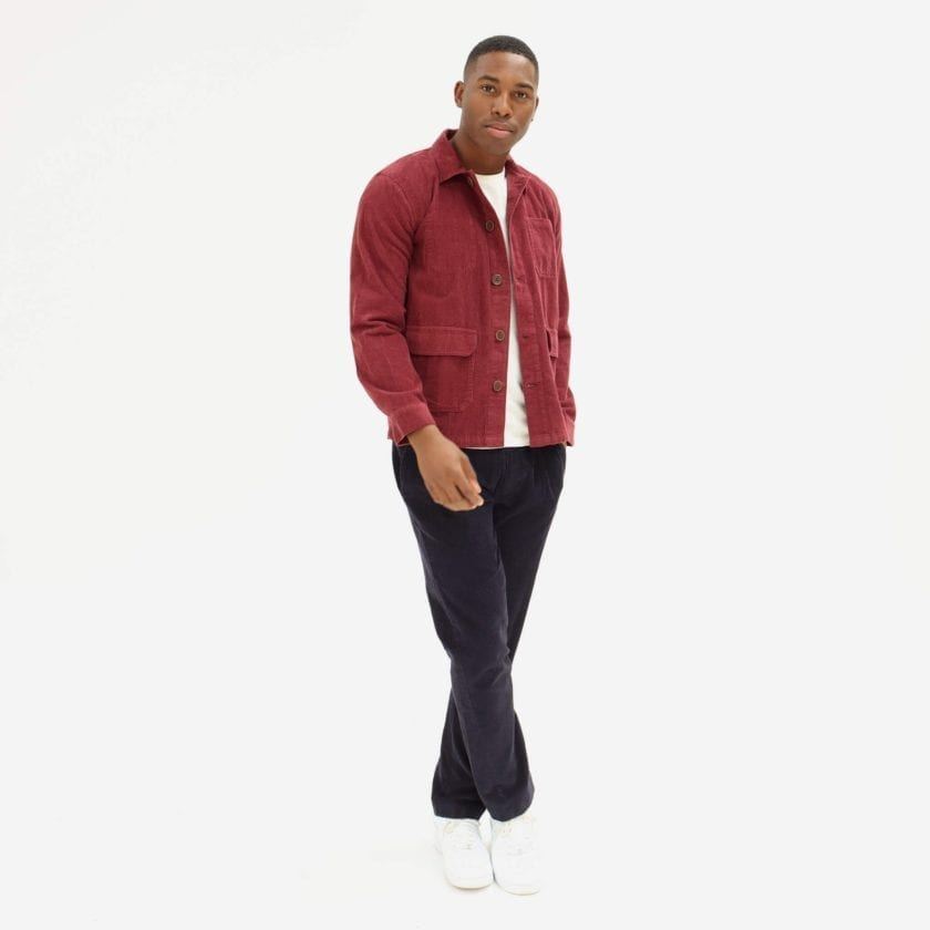 Far Afield Porter Jacket a Maroon Organic Cotton Corduroy Fabric Utility Overshirt Casual Work 4