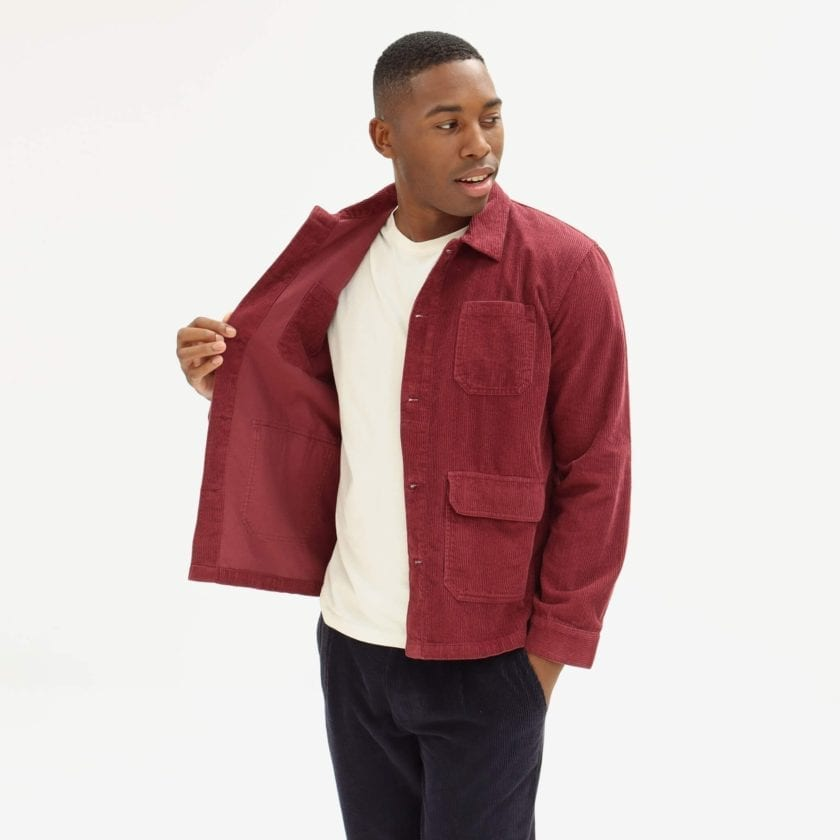 Far Afield Porter Jacket a Maroon Organic Cotton Corduroy Fabric Utility Overshirt Casual Work 3