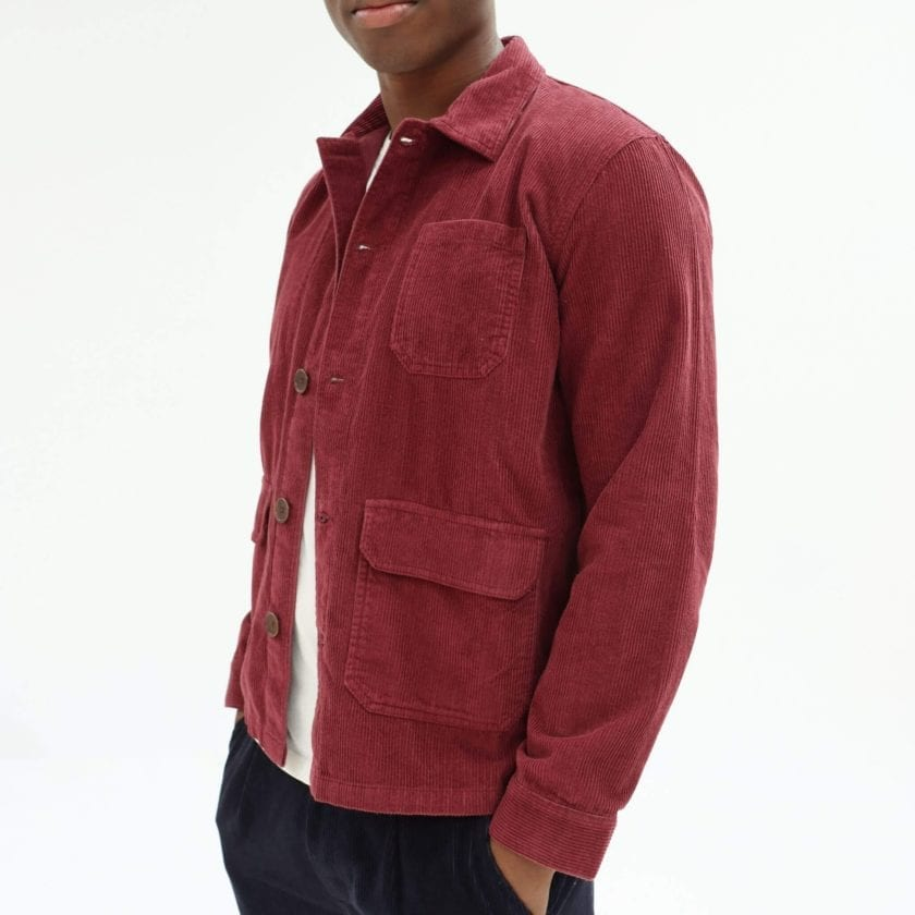 Far Afield Porter Jacket a Maroon Organic Cotton Corduroy Fabric Utility Overshirt Casual Work 2