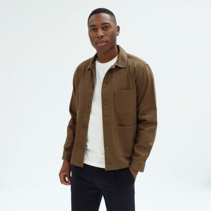 Far Afield Station Jacket a Dark Brown Organic Cotton Twill Fabric Utility Overshirt Casual Work 3