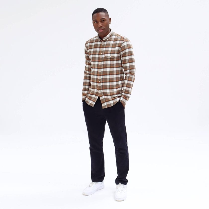 Far Afield Larry Long Sleeve Shirt a Moscow Check BCI Cotton Fabric/Cotton Flannel Work Lumberjack Check Casual 2