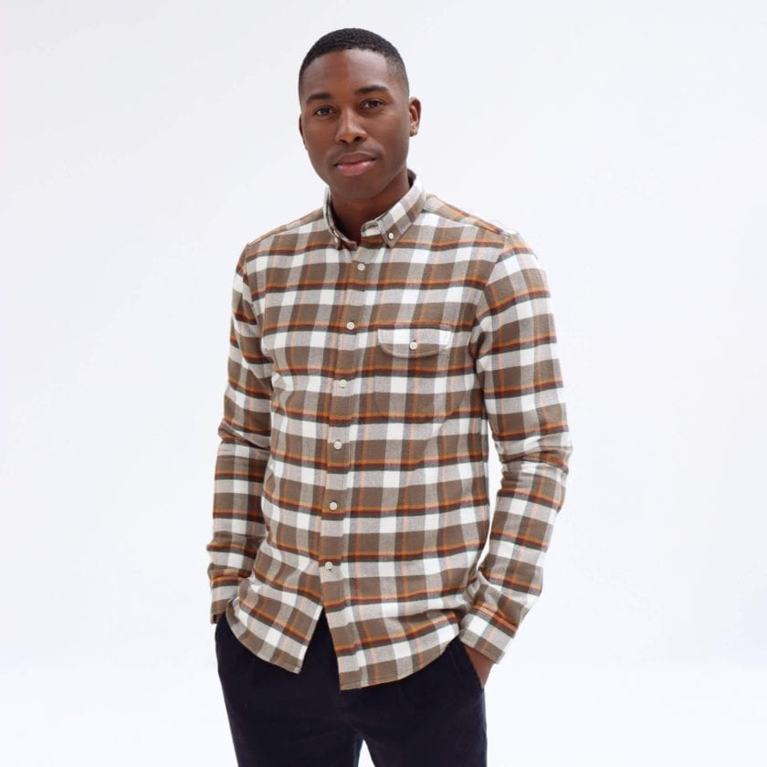 Far Afield Larry Long Sleeve Shirt a Moscow Check BCI Cotton Fabric/Cotton Flannel Work Lumberjack Check Casual 3