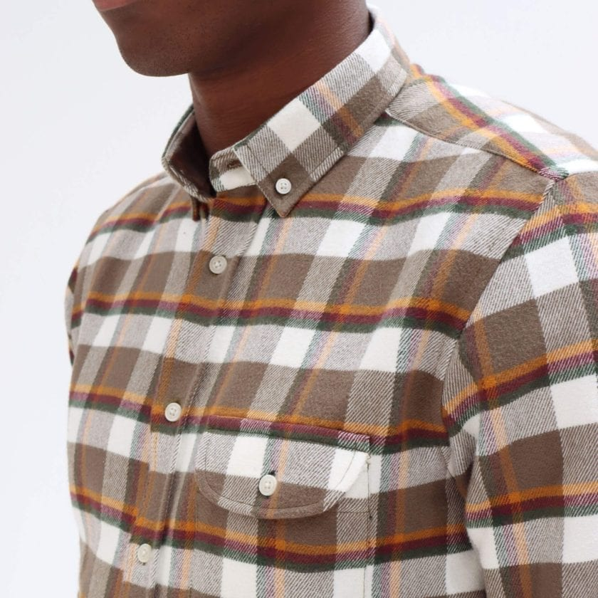 Far Afield Larry Long Sleeve Shirt a Moscow Check BCI Cotton Fabric/Cotton Flannel Work Lumberjack Check Casual 4