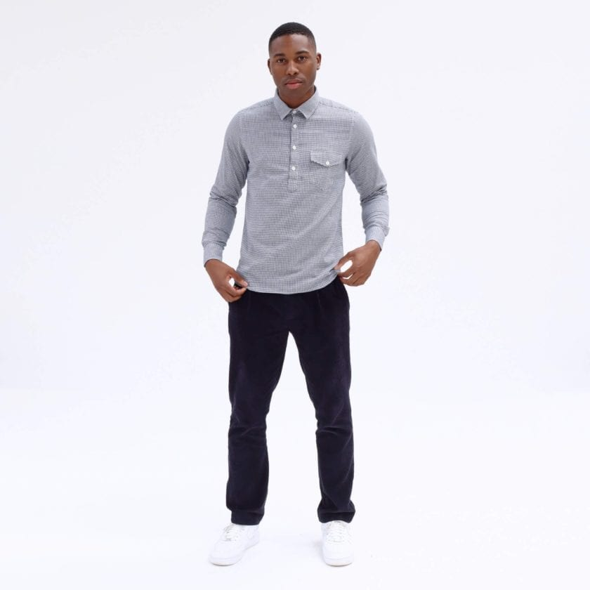 Far Afield Flap Pocket Pop Over Long Sleeve Shirt a Monochrome Cotton Up-Cycled Fabric Classic Menswear Smart Casual 4