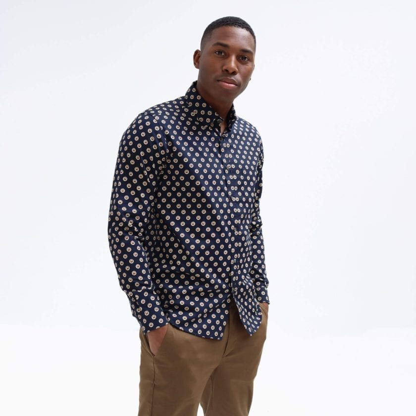 Far Afield Cognito Long Sleeve Shirt a Dark Navy Organic Cotton Train Repeat Pattern Print Fabric Smart Casual 3