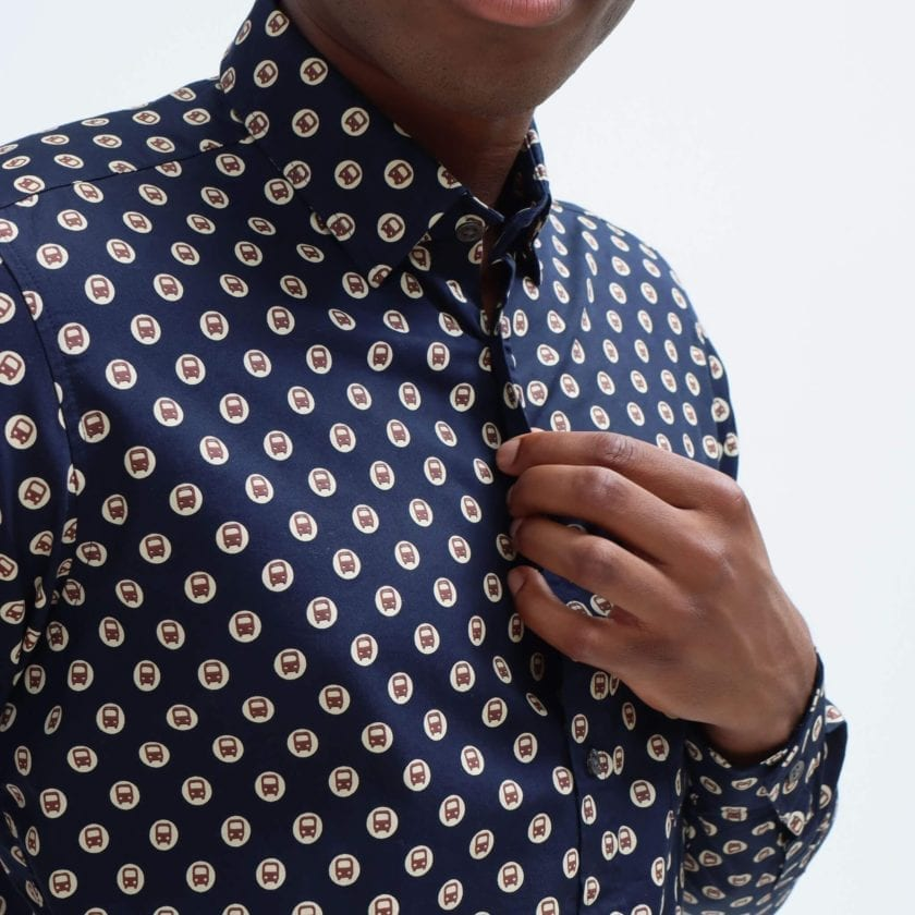Far Afield Cognito Long Sleeve Shirt a Dark Navy Organic Cotton Train Repeat Pattern Print Fabric Smart Casual 4