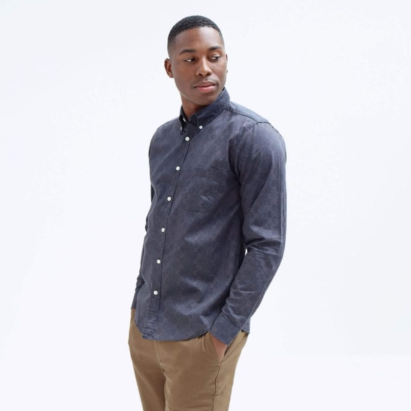 Far Afield Mod Button Down Long Sleeve Shirt a Dark Navy Organic Cotton Classic Fabric Tailored Smart Casual 3