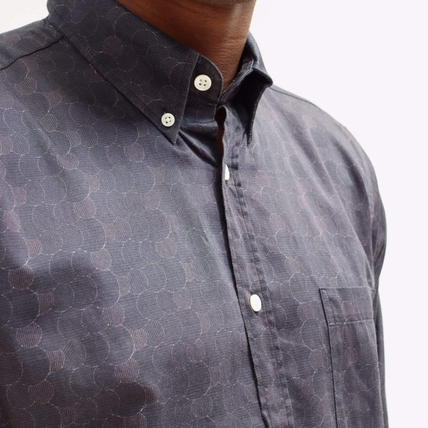 Far Afield Mod Button Down Long Sleeve Shirt a Dark Navy Organic Cotton Classic Fabric Tailored Smart Casual 2