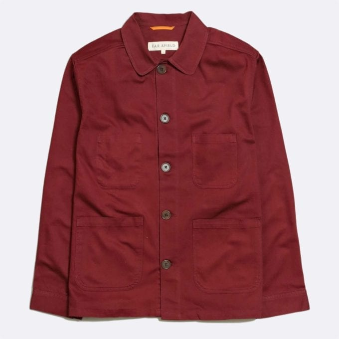 Far Afield Station Jacket a Maroon Organic Cotton Twill Fabric Utility Overshirt Casual Work
