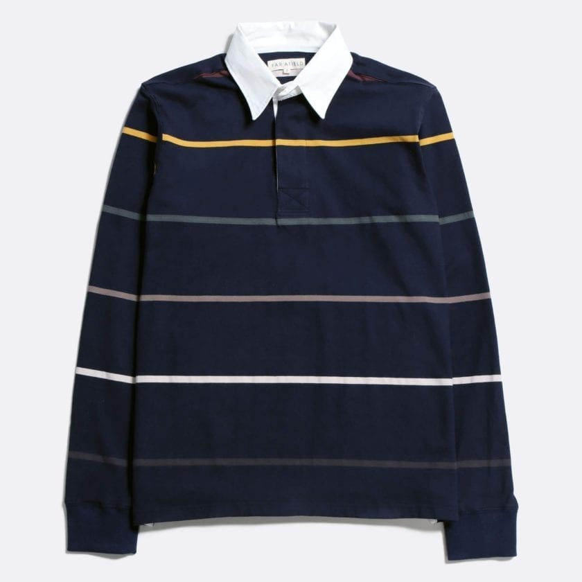 Far Afield Benito Rugby Shirt a Navy BCI Cotton Classic Fabric Preppy Stripe Casual