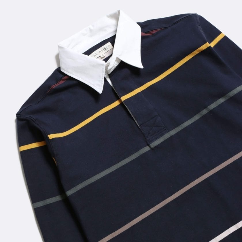 Far Afield Benito Rugby Shirt a Navy BCI Cotton Classic Fabric Preppy Stripe Casual 5