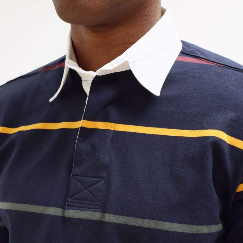 Far Afield Benito Rugby Shirt a Navy BCI Cotton Classic Fabric Preppy Stripe Casual 4