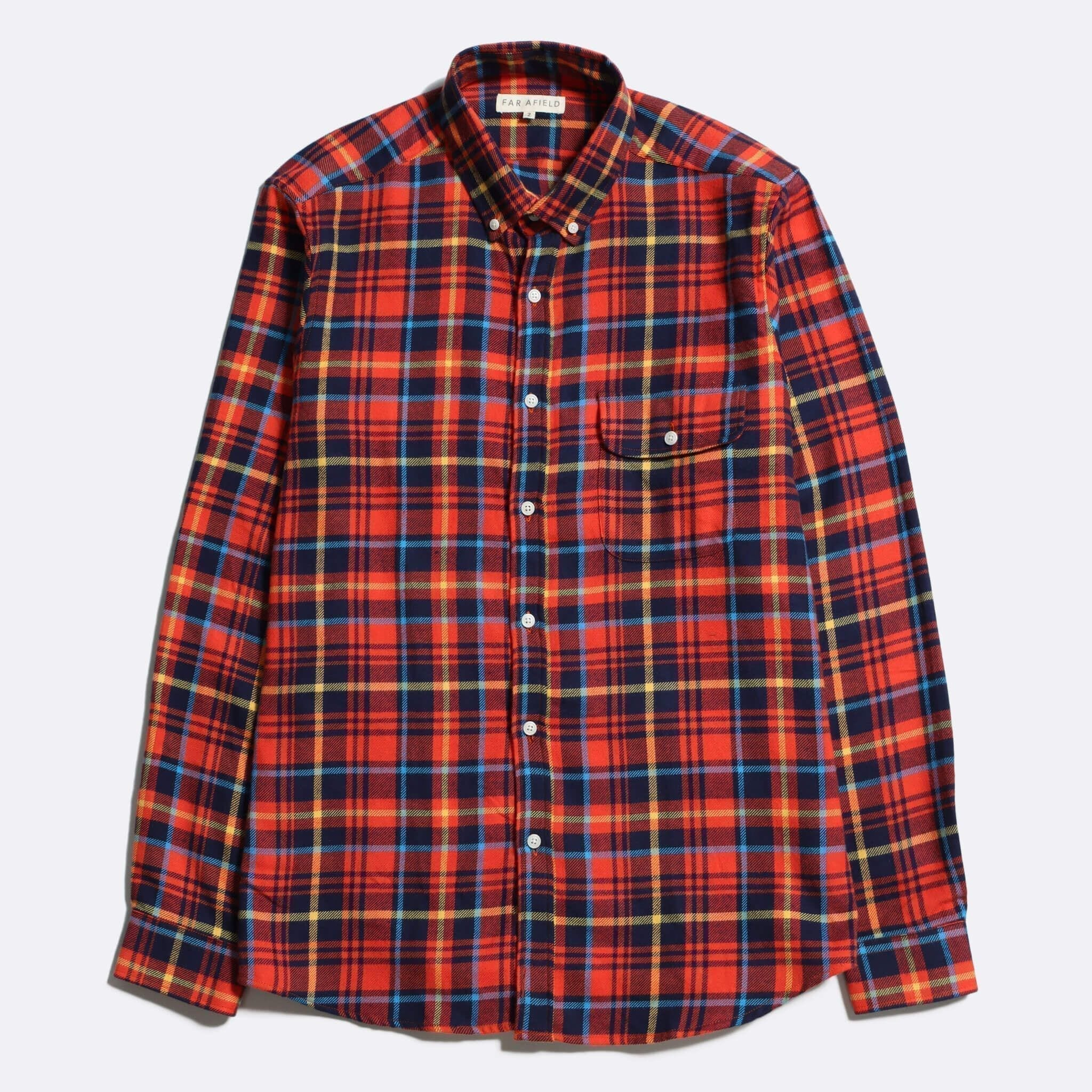 Far Afield Larry Long Sleeve Shirt a Red Check Cotton Flannel/Up-Cycled Fabric Work Lumberjack Check Casual